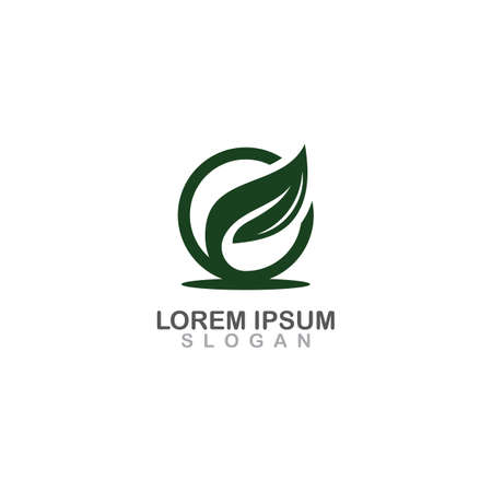 Simple leaf modern professional logo design of medical organic vector illustrator Иллюстрация