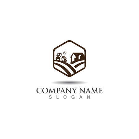 Farming green nature logo design template, Agriculture icon Illustration