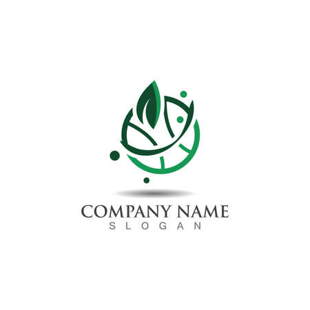 Abstract plant vector sign world. Logotype for Ecology, nature, world activity