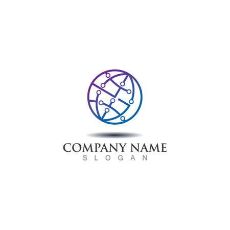 Circle world digital tech logo concept design. Symbol graphic template element