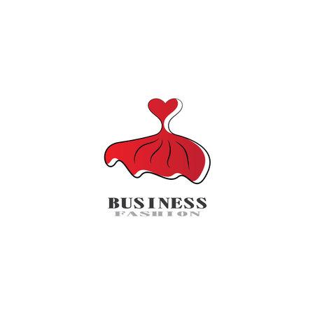 Beautiful dress woman logo simple creative for boutique logo vector