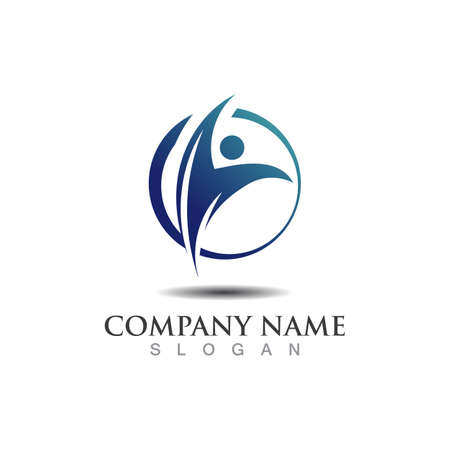 Globe abstract person logo business graphic design isolated on white vector
