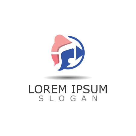 Polygonal Media Play Logo Illustration. Play button vector Template