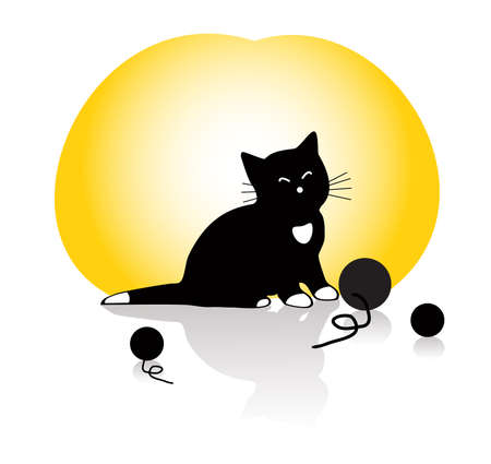 illustration of a kitten playing with knitting balls on yellow background Vector