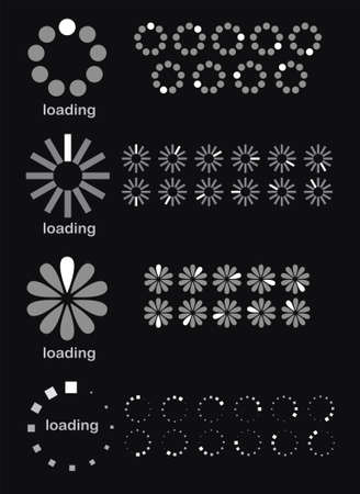 illustration of different loading symbols on black background Illustration