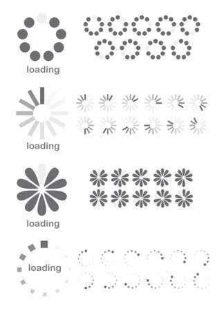 illustration of different loading symbols on white background Illustration