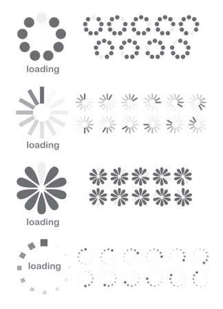 illustrazione di caricamento diversi simboli su sfondo bianco
