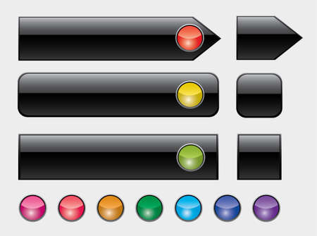 rectangle button: illustration of web buttons with colorful lights Illustration