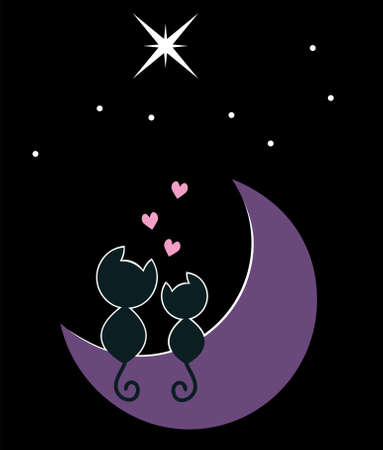 two cats in love sitting on the moon Stock Vector - 8191556