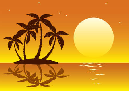 illustration of tropical palm island in moon or sun light Vector
