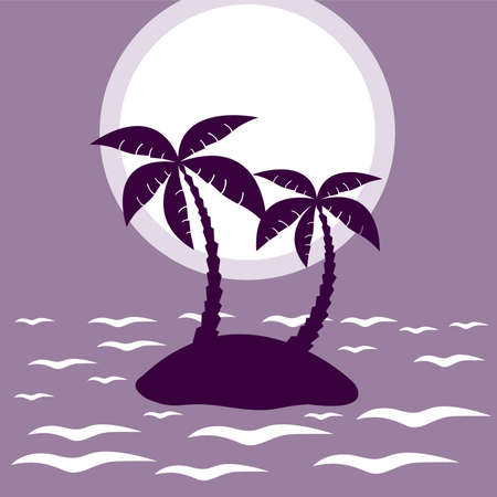 beach sunset: illustration of tropical palm island in moon or sun light