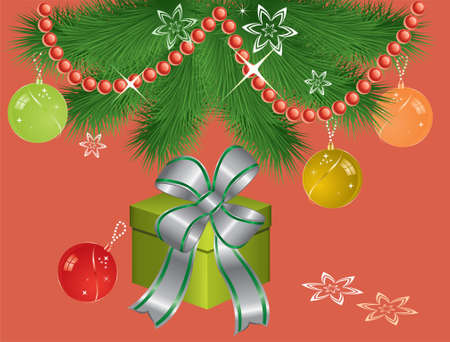 illustration of xmas gift box under fir tree branches Vector
