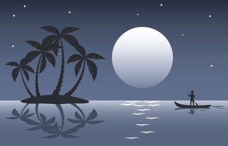 man in the moon: illustration of tropical palm island and a man in a boat at night