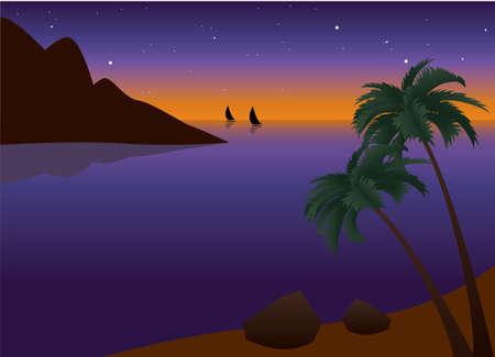 tallship: illustration of tropical palm beach near the ocean at sunset