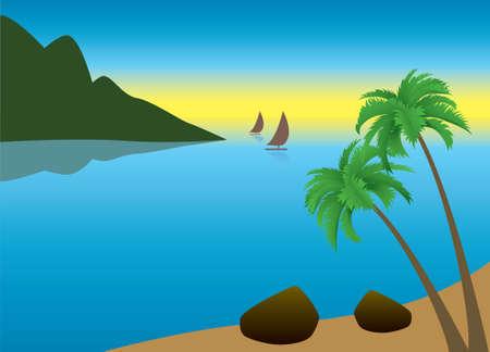 tallship: illustration of tropical palm beach near the ocean in the morning