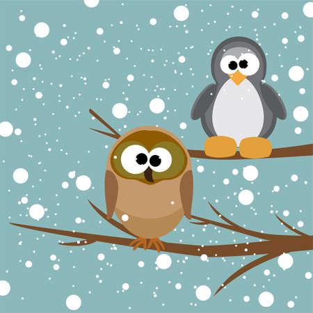 illustrazione vettoriale di un gufo e un pinguino su un albero sotto la neve Vettoriali