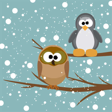 vector illustration of an owl and a penguin on a tree under snowfall