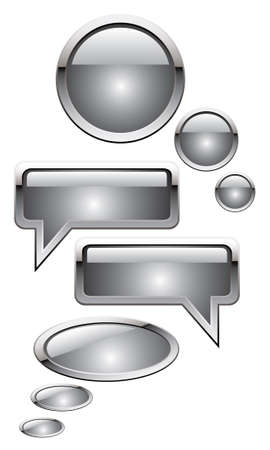 chat window: vector illustration of silver metal chat boxes, speech bubbles