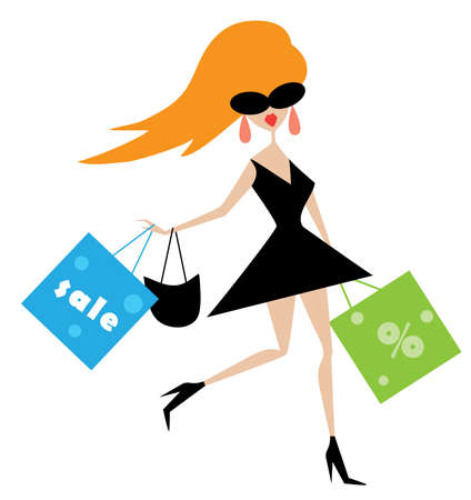 vector illustration of a funny girl with shopping bags Vector