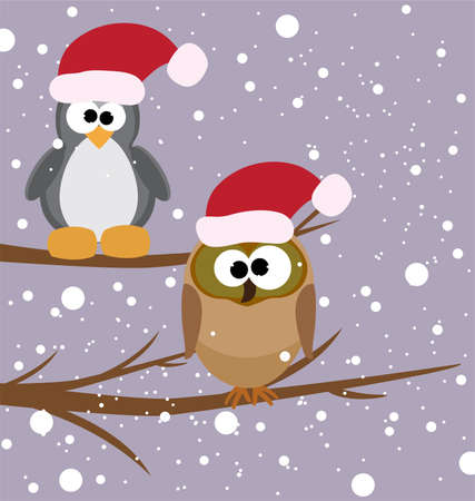vector illustration of an owl and a penguin on a tree with santas hats Vector