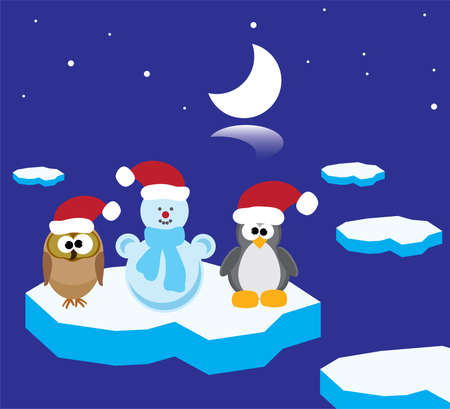 vector illustration of an owl, a penguin and a snowman on the ice floe Vector