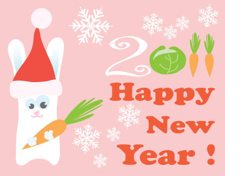 vector illustration of a rabbit with new year greeting Vector