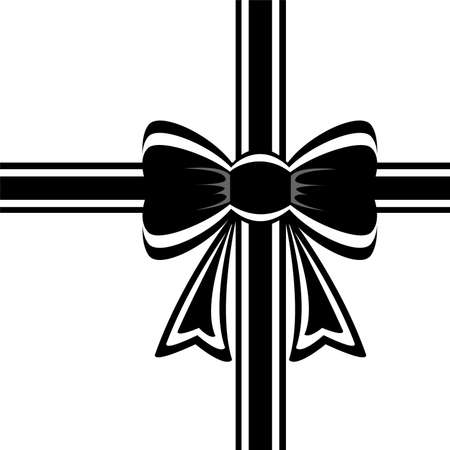 black ribbon bow: vector black ribbon with bow on white