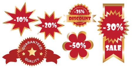 vector set of promo stickers, golden variant Vector