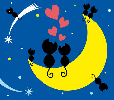 two cats in love sitting on the moon and kittens Vector