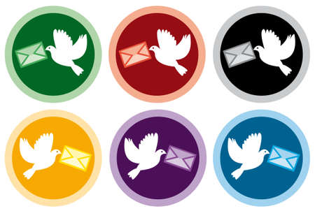 vector colorful icons of doves with letters Vector