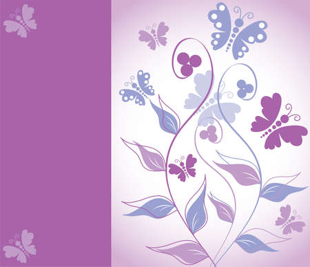 purple butterfly: greeting card with floral ornament
