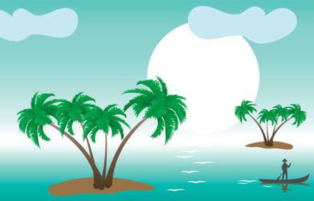 illustration of tropical palm islands in the morning Vector