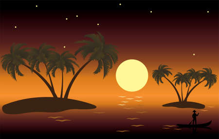 illustration of tropical palm islands Stock Vector - 8569532