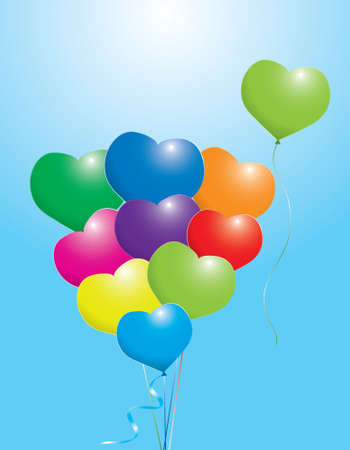 illustration of colorful balloons, shape of heart Stock Vector - 8775987
