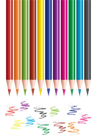 set of colored pencils and scribbles Vector
