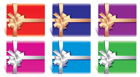 set of cards or gift boxes with bow and ribbon Vector