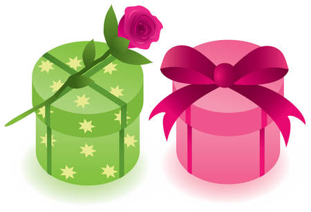 two round gift boxes with a rose
