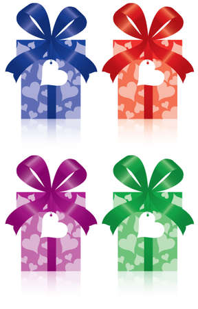 set of gift boxes with bow, ribbon and label Vector