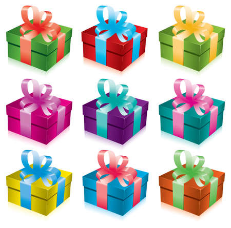 red gift box: set of gift boxes with bow and ribbon Illustration