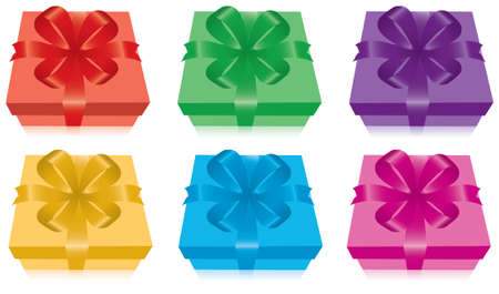 set of gift boxes with bow and ribbon Vector