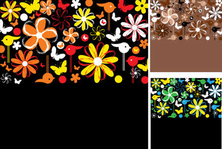 set of abstract floral backgrounds with space for your text Vector