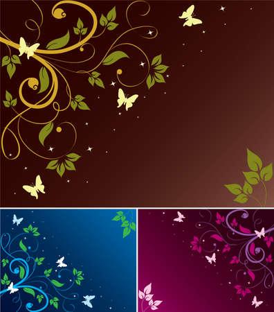 set di astratto backgrounds floreali con spazio per il testo Vettoriali