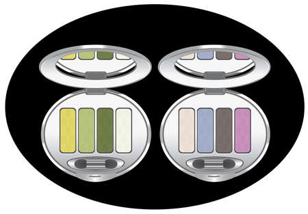 sets of multicolored eye shadows isolated on black, vector. Contains gradient mesh. Vector