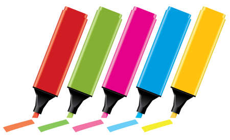 permanent: vector colorful highlighters  Illustration