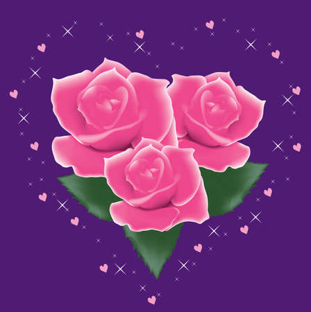 vector pink roses with leaves Vector