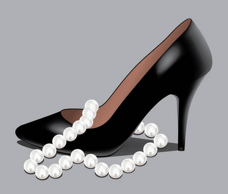 vector illustration of a shoe and pearl beads Vector