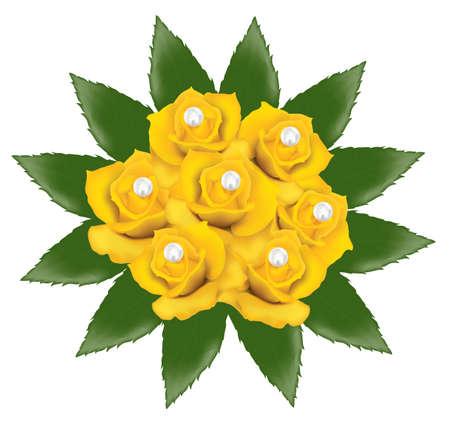 gele rozen: vector bos van gele rozen met parels