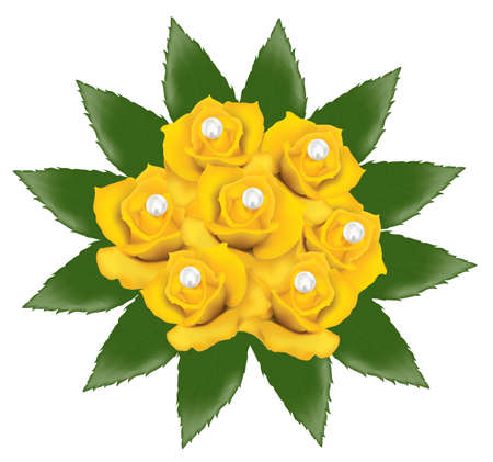 vector bunch of yellow roses with pearls Vector