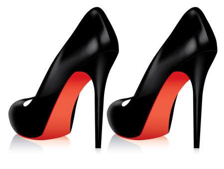 tacones rojos: Vector par de zapatos de tac�n  Vectores