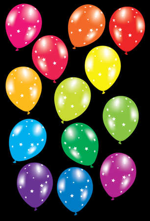 vector illustration of colorful balloons with stars on black background Stock Vector - 8920315